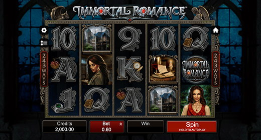 Immortal Romance slots layout