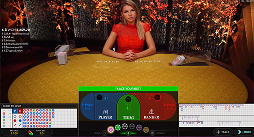 Play Baccarat live at 888Casino