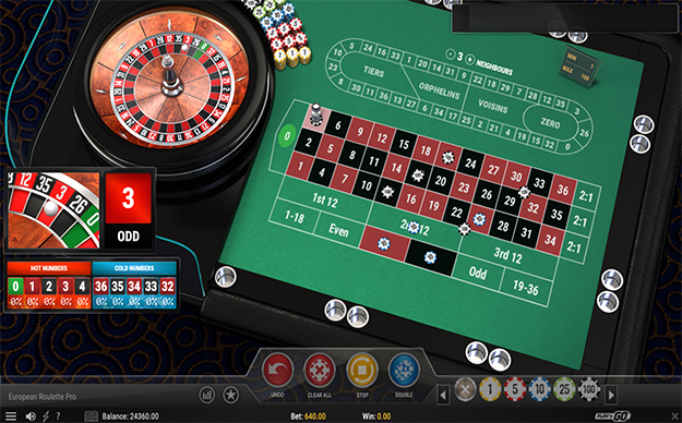 The gameplay of the Play'n Go's European Roulette Pro