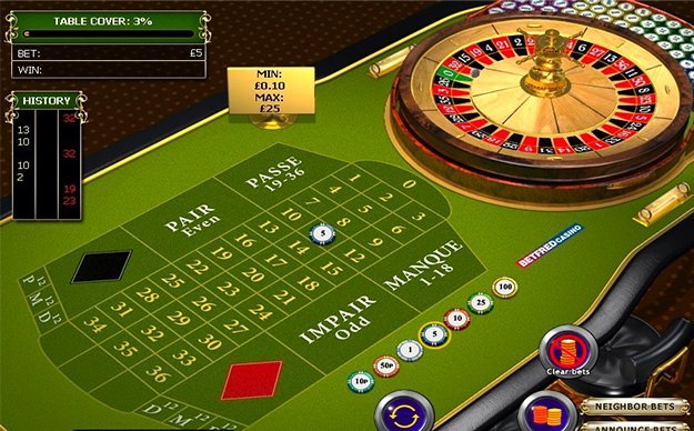 French roulette gameplay view
